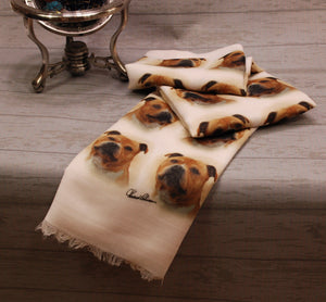 Staffordshire Bull Terrier Print Scarf - Howard Robinson Staffi design Ladies Fashion Scarf – Hand Printed in the UK