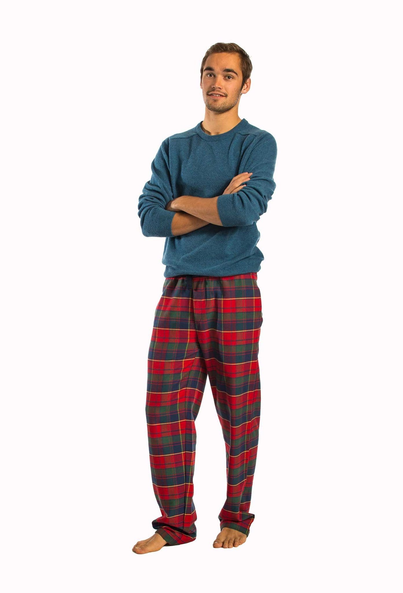 Wylye red and blue check lounge pants - Men's