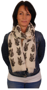 Scottish Terrier Scarf - Mike Sibley Scottie Design Ladies Fashion Scarf - Hand Printed In The UK