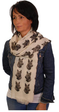Load image into Gallery viewer, Scottish Terrier Scarf - Mike Sibley Scottie Design Ladies Fashion Scarf - Hand Printed In The UK