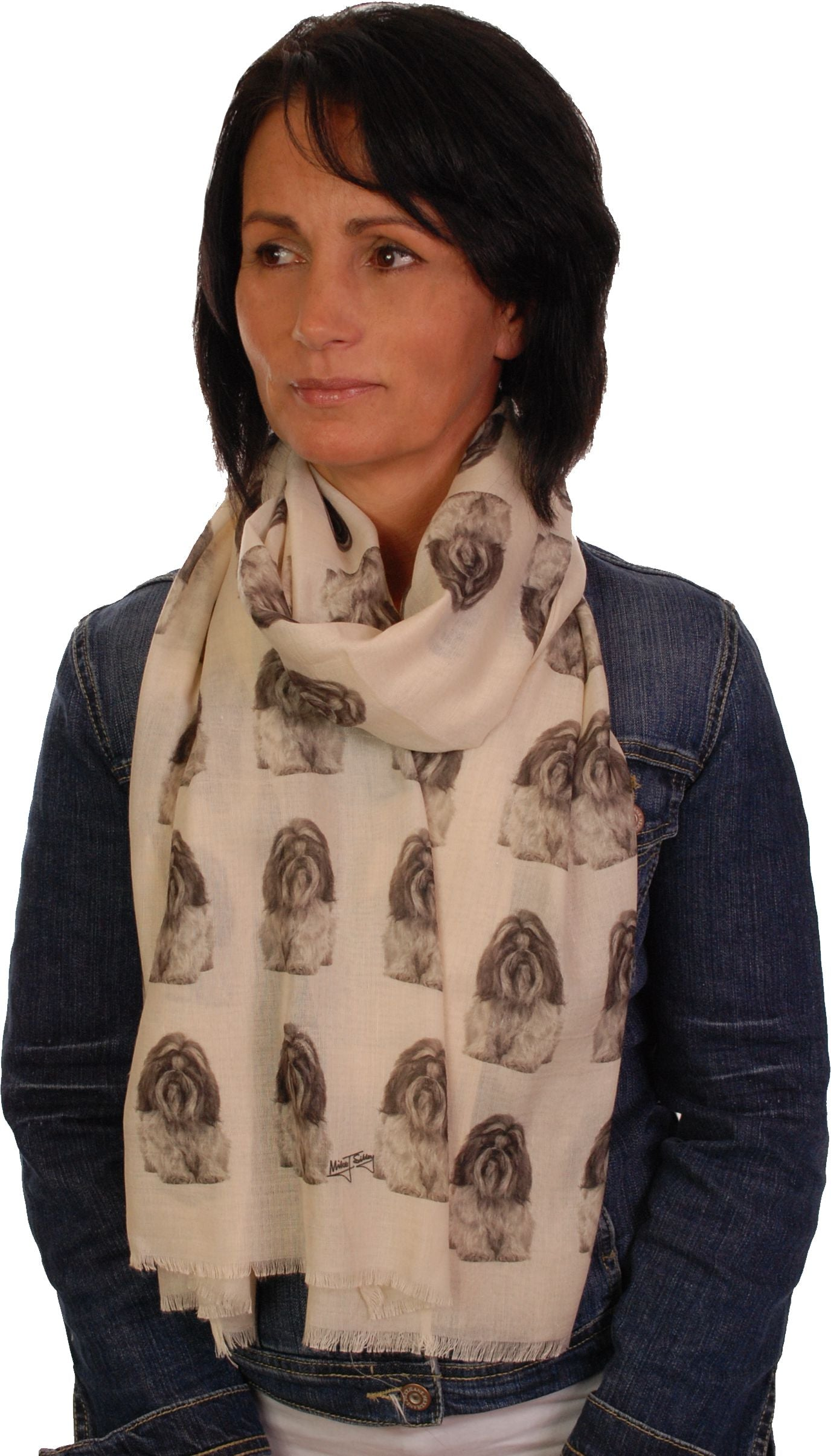 Shih Tzu Scarf - Mike Sibley Shih Tzu Design Ladies Fashion Scarf - Hand Printed In The UK