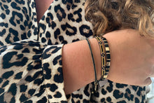 Load image into Gallery viewer, Euphonium Black & Gold Pull Through Woven Bracelet