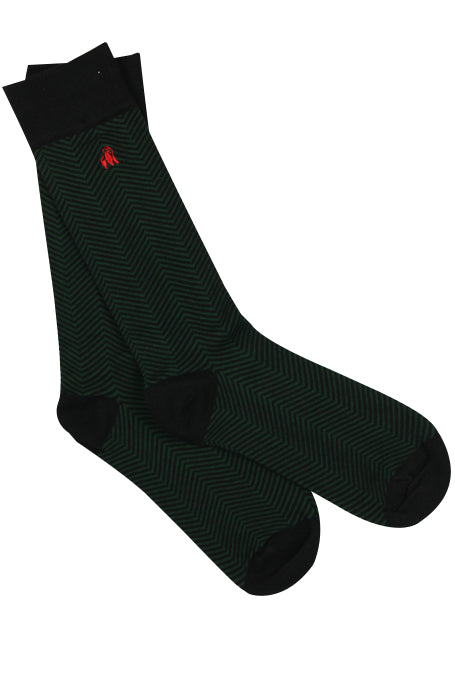 Chevron Green Bamboo Socks