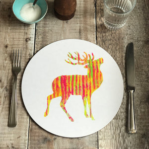 TABLEMAT - Round - STAG Red Stag Design