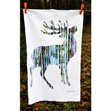 Load image into Gallery viewer, TEA TOWEL IN A GIFT BAG - Single silvery Stag
