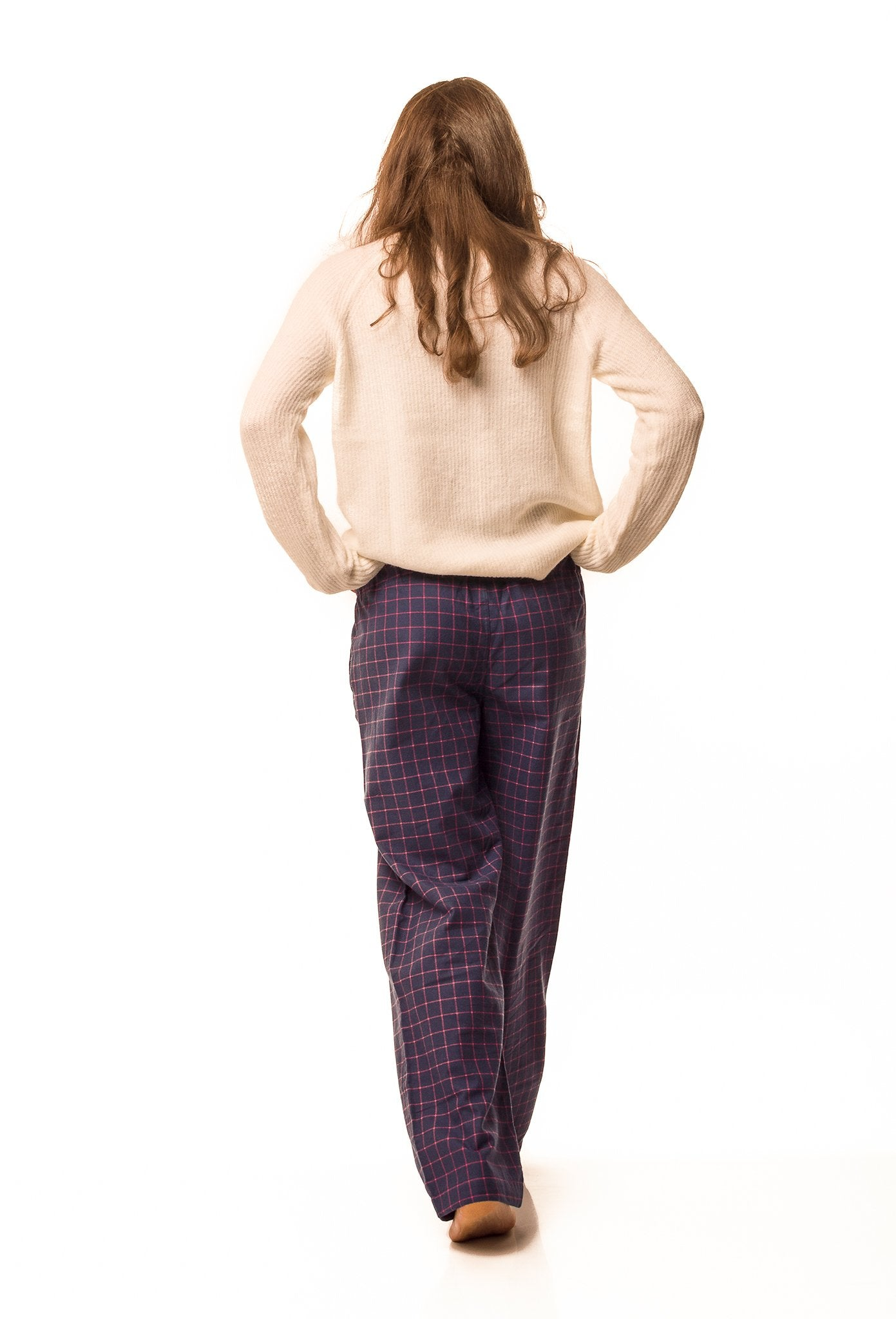 Dever navy blue/fuchsia check lounge pants - Women's