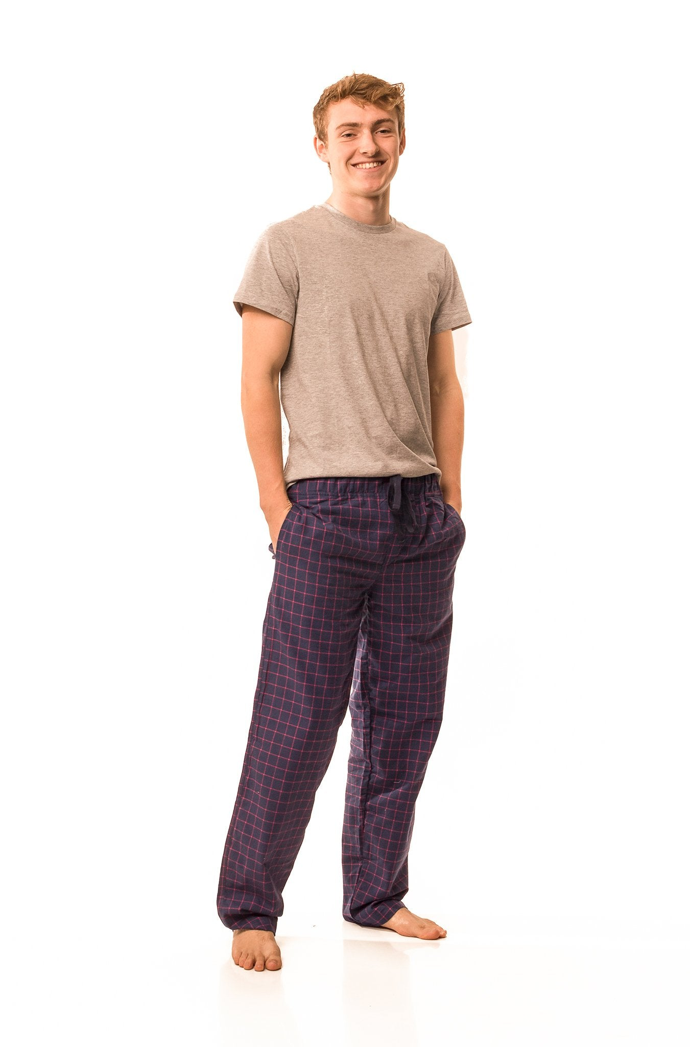 Dever navy blue/fuchsia check lounge pants - Men's