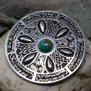Pewter Celtic Wheel Brooch - Turquoise