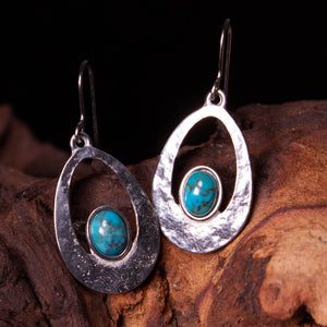 Turquoise Slate Cabochon Earrings