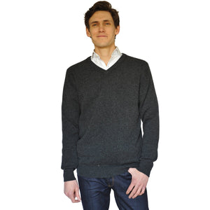 Unisex Cashmere Thick Knit V-Neck Jumper in Charcoal