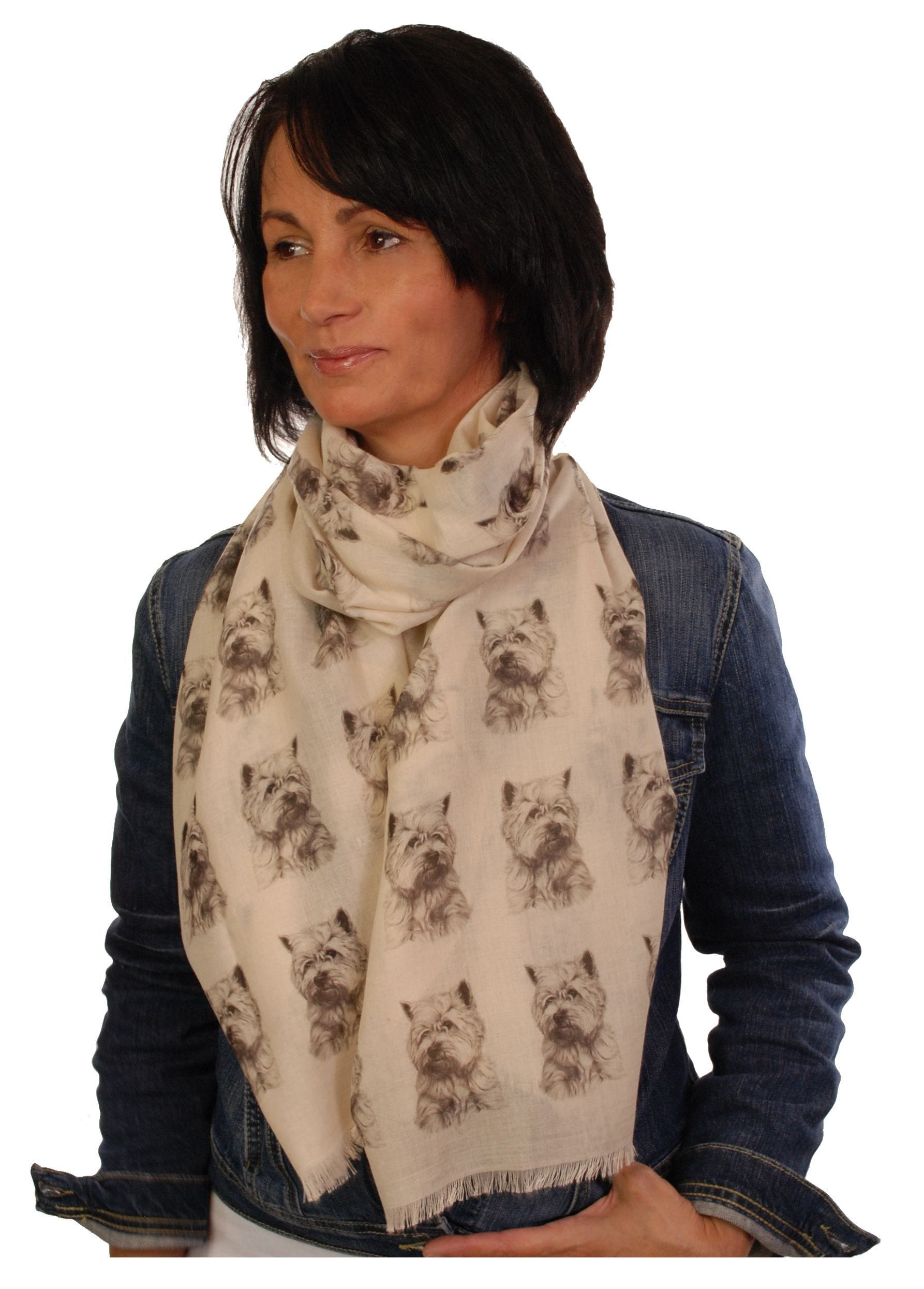 West Highland Terrier Scarf - Mike Sibley Westie Design Ladies Fashion Scarf - Hand Printed In The UK