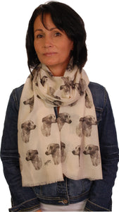 Whippet Scarf - Mike Sibley Whippet Design Ladies Fashion Scarf - Hand Printed In The UK