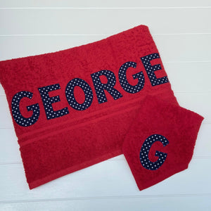 Red Lettered Towels