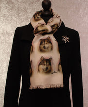 Load image into Gallery viewer, Alaskan Malamute Print Scarf - Howard Robinson Alaskan Malamute design Ladies Fashion Scarf – Hand Printed in the UK