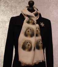 Load image into Gallery viewer, Bearded Collie Print Scarf - Howard Robinson Bearded Collie design Ladies Fashion Scarf – Hand Printed in the UK
