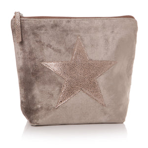 Velvet Effect Star Wash Bag/Clutch - Light Or Dark Beige