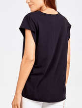 Load image into Gallery viewer, Black Cap Sleeve T Shirt