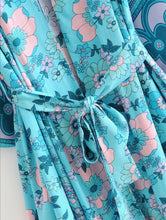 Load image into Gallery viewer, Blue & Green Floral Kimono