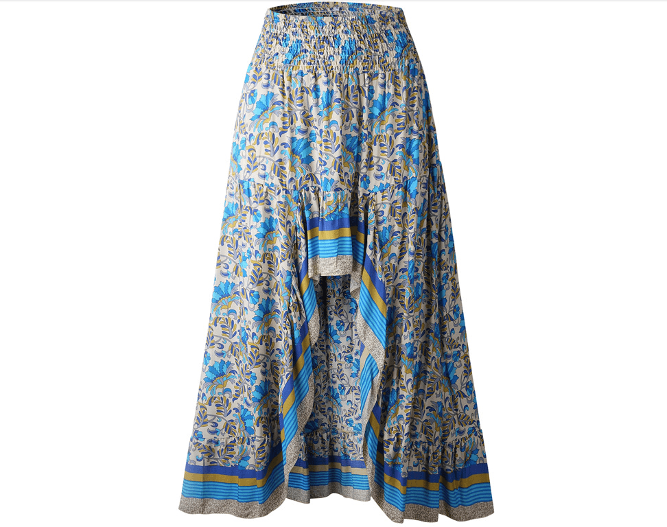 Blue High Low Boho Skirt