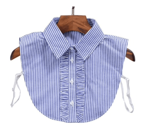 Detachable Blue & White Striped Faux Collar With Ruffle & Button Detail - One Size