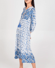 Load image into Gallery viewer, Blue & White Tie Midi Dress
