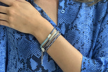 Load image into Gallery viewer, Carnival Navy Blue & Silver 2 Row Beaded Friendship Bracelet