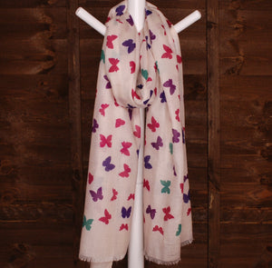 Butterfly Scarf - Small Butterfly Print Design printed Scarf - Hand Printed in the UK - FREE personalisation