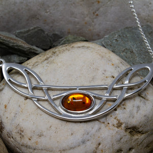 Celtic Bow Necklace - Amber