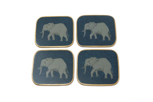Coasters, Elephant on Navy and Cobalt, Set of 4