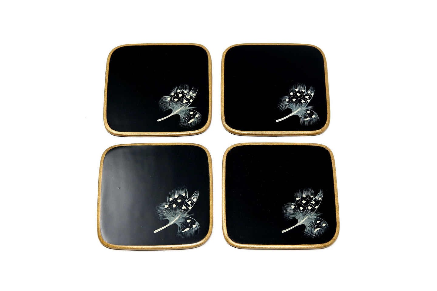 Coasters, Guineafowl Feather on Black, Set of 4