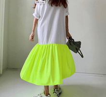 Load image into Gallery viewer, Cotton Yellow Neon T Shirt Dress