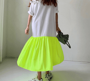 Cotton Yellow Neon T Shirt Dress