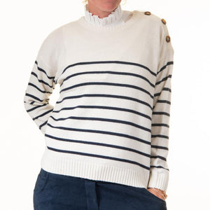 Cream Stripe Button Detail Jumper
