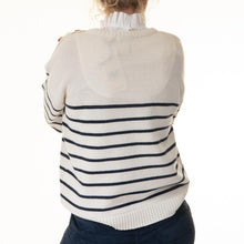 Load image into Gallery viewer, Cream Stripe Button Detail Jumper