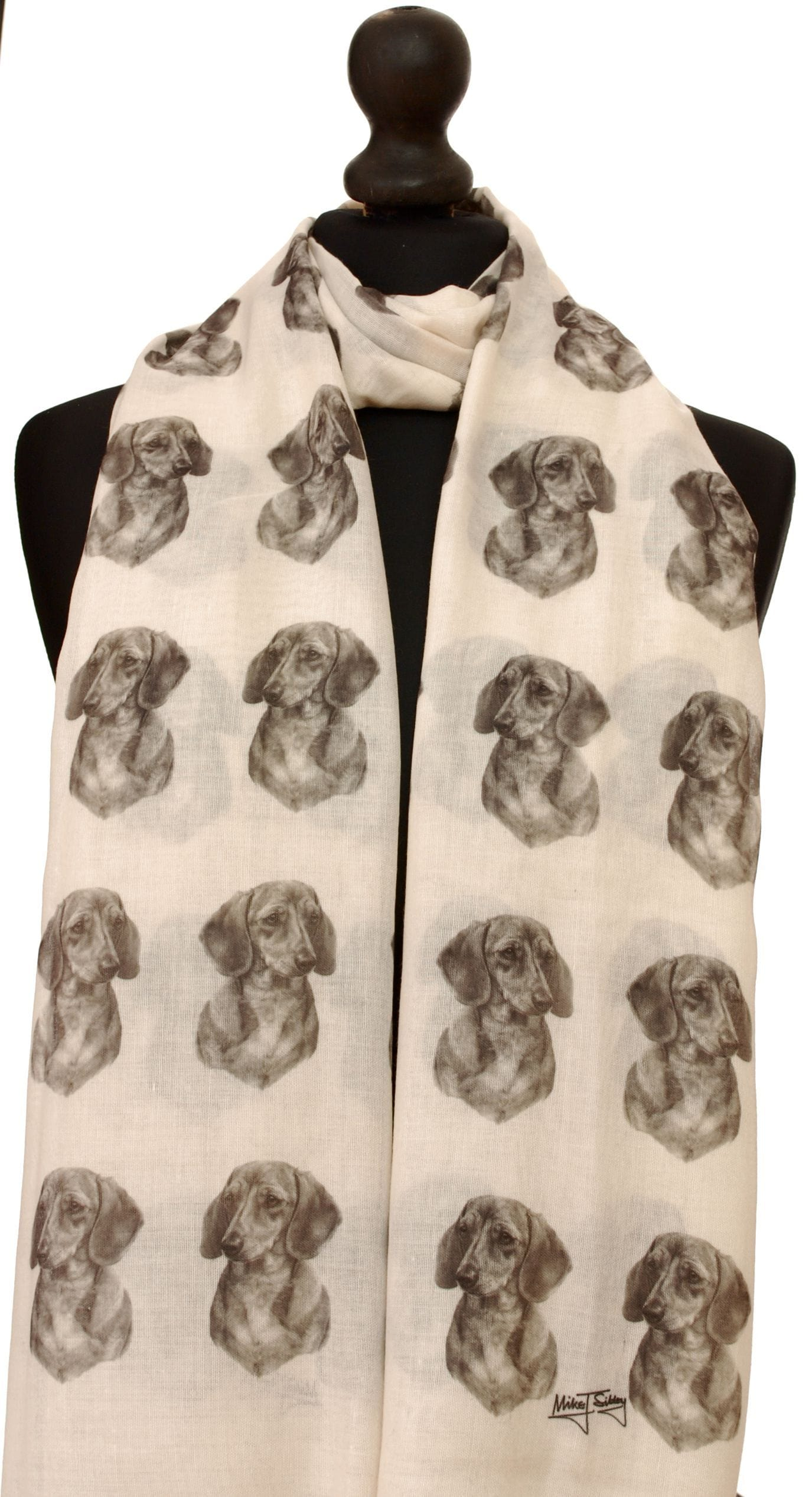 Smooth Haired Dachshund Scarf - Mike Sibley Dachshund design Ladies Fashion Scarf – Hand Printed in the UK
