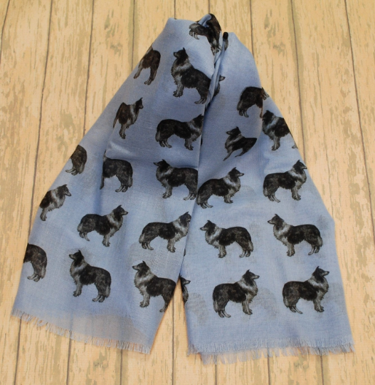 Rough Collie scarf hand printed in the UK