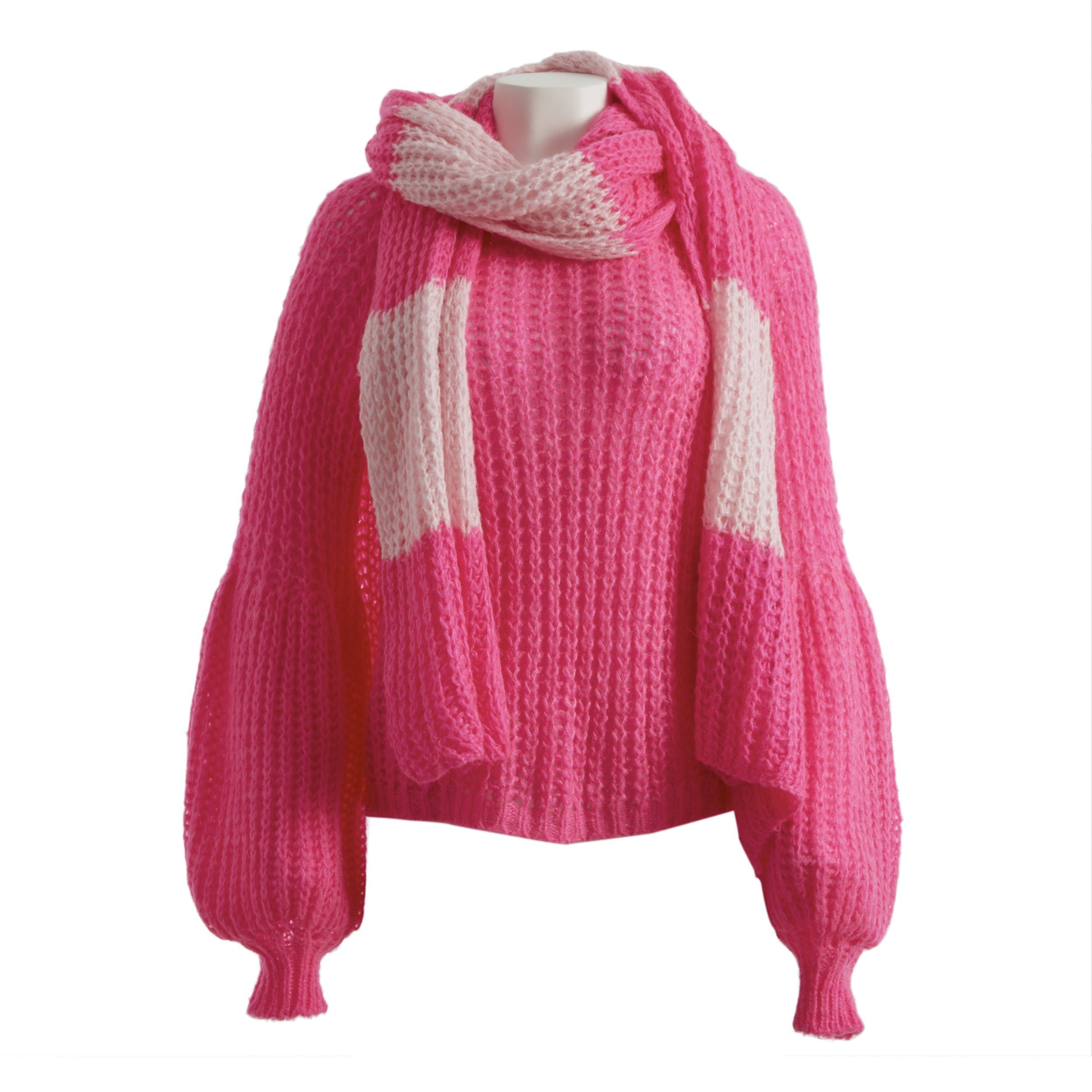 Mohair-blend cable rib-knit long scarf - electric and pale pink