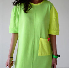 Load image into Gallery viewer, Fluro Green Maxi T Shirt Beach Dress
