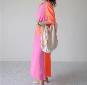 Fluro Pink Maxi T Shirt Beach Dress