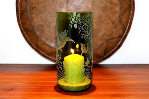 Large Green Vase/Candle Holder, Engraved with Birds