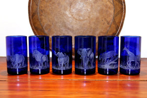 Tall Blue Glass Tumbler Set, Engraved with Big 5 plus Giraffe