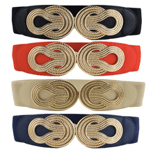Load image into Gallery viewer, Gold Knot Navy Blue Stretch Waist Belt