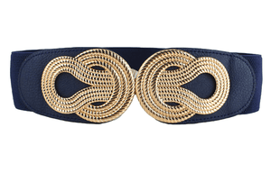 Gold Knot Navy Blue Stretch Waist Belt