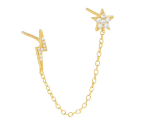 Gold Lightening Bolt & Star Chain Double Earrings