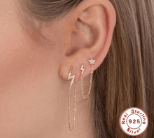 Load image into Gallery viewer, Gold Lightening Bolt & Star Chain Double Earrings