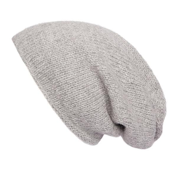 Women's Slouch Beanie Hat, 100% Alpaca, Light grey, Hand Knitted Slouchy Woolly Toque, Baggy wool hat, Ethical, Fair Trade, Plastic free