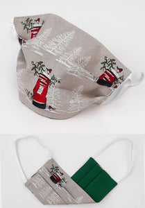 Christmas & Winter Reversible Cotton Face Mask -Made in UK