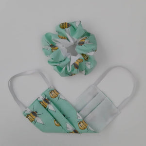 Bee Cotton Face Mask and Scrunchie Set -Made in UK - Mint Bees
