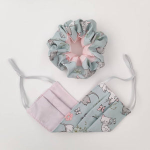 Kitten Cotton Face Mask and Scrunchie Set  -Made in UK