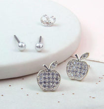 Load image into Gallery viewer, Crystal Apple And Pearl Stud Earring Set